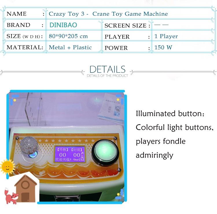 crazy toy 3 crane game machine